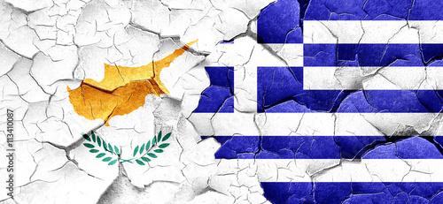 Zdjęcia na płótnie, fototapety, obrazy : Cyprus flag with Greece flag on a grunge cracked wall