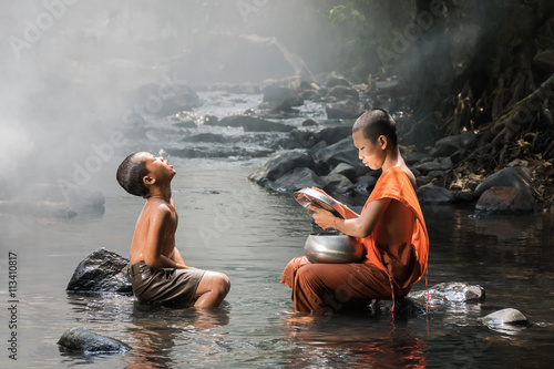 Fotobehang Boeddha Monk and boy