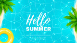 Fototapety Hello summer web banner. Beautiful background on the sea topic with palm trees. Vector illustration. Hello Summer Holiday backdrop.