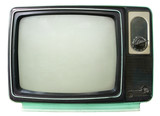 Fototapety Vintage television - old TV isolate on white, retro technology