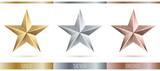 Fototapety Vector illustration of realistic metallic 3 stars