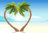 Two tropical palm curved into heart shape. Heart symbol of love