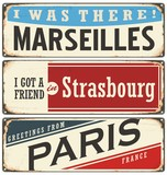 French cities vintage tin signs collection