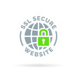 Secure SSL website icon. Secure global symbol. Grey globe with green padlock sign isolated on white background. Vector illustration.