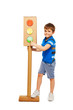 Kid boy pointing to green signal of traffic light