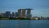 Panning shot of Singapore after sunset