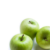 three green apples - isolated