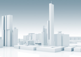 Abstract white modern cityscape skyline 3 d