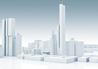 Abstract white modern cityscape skyline 3 d