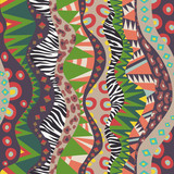 Seamless Motif With Vertical African Pattern Vintage Colors