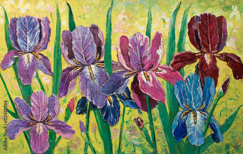 Plakat original oil painting impressionism on canvas, amazing floristry painting, flowers in garden original artwork, .