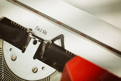 Faith Concept with a Typewriter