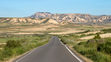 Road through the Bardenas Reales Natural Park in Navarre, Spain