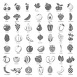 Black Icons - Fruits and Vegetables - 113464220