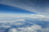 The atmosphere over the ocean, viewed from high altitude.