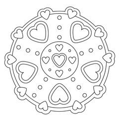 Coloring Simple Heart Mandala