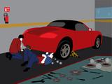 taller, carro, reparar, mecanicos, trabajando, rojo, deportigo,