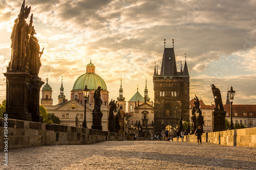 Poster Prague Charles bridge sunrise