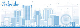 Fototapety Outline Orlando Skyline with Blue Buildings.