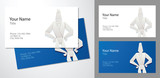 Vector image of templates of business cards blue and white colors with a cartoon image of origami businessman in a suit standing on a gray background. Vector business cards.