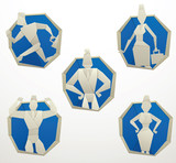 Vector set of blue round paper frames with images of origami businessmen in suits and business women in the center on a white background. Made in origami style. Vector business illustration.