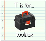 Flashcard letter T is for toolbox