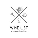 Wine logo or label for wine list, vineyard or winery. Wine list logo with glass, corckscrew, grape and wine barrel.