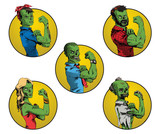 Vector set of Halloween round yellow frames with cartoon images of a green zombies different ages and genders, in different clothes in the center on a white background. Halloween. Vector illustration.