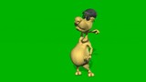 3d rendering animation - puppet pose in front of the mirror isolated on green screen