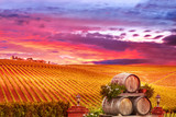 Vineyard Sunset with Wine Barrels
