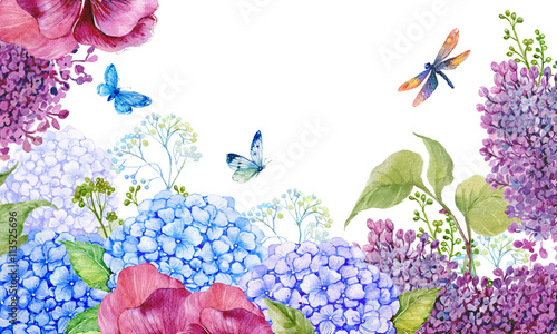 Obraz цветочный фон для открытки .акварельная иллюстрация