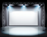 Fototapety Spotlights on the stage. Vector illustration.