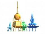 Фантастические космические корабли разных цветов стоят на белом фоне