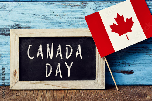 Poster text Canada Day and flag of Canada