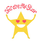 lettering illustration with quote - you are my star