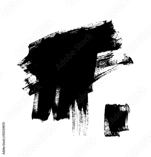 Black grungy vector abstract hand-painted background. Brush Design. © farba2014