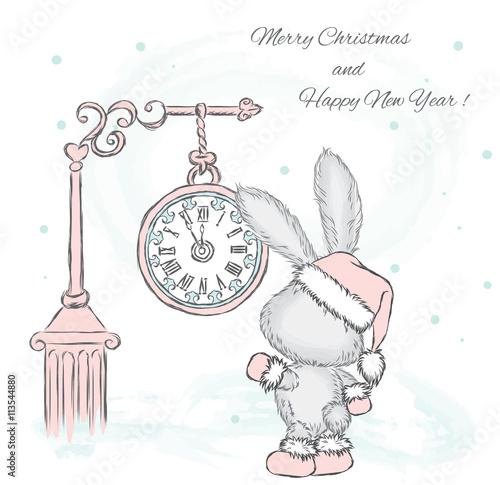 Fototapeta Cute hare under the clock. New Year card. Christmas. Vector illustration.