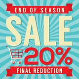 20 Percent End of Season Sale Vector Illustration.
