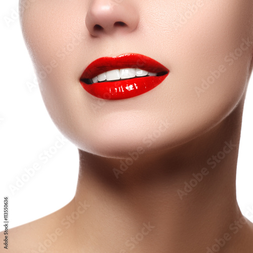 Perfect smile with white healthy teeth and red lips, dental care Poster