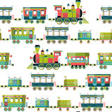 Toy train. Locomotive with several multi-colored coaches. Seamless background pattern.