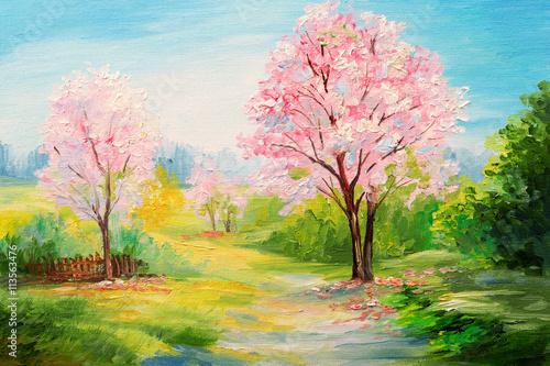 Papiers peints Rose clair / pale oil painting, colorful forest, сherry blossoms, art watercolour