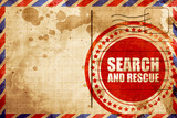 search and resue, red grunge stamp on an airmail background