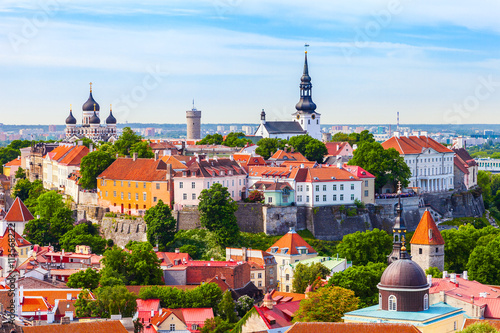 View from tower of Saint Olaf Church on old city of Tallinn and Poster