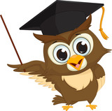 cartoon wise owl with pointer giving educational presentations