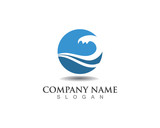 wave water logo template - 113578651