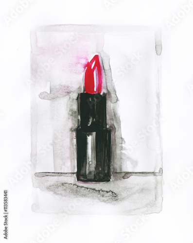 lipstick. watercolor illustration - 113583441