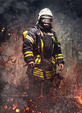 Rescue man in firefighter uniform.