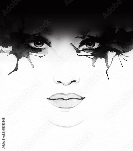 Beautiful woman face. Abstract fashion watercolor illustration © Anna Ismagilova