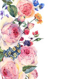 Watercolor bouquet of English roses and wildflowers