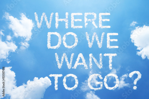 "Poster ""Where do we want to go?"" cloud word on sky."